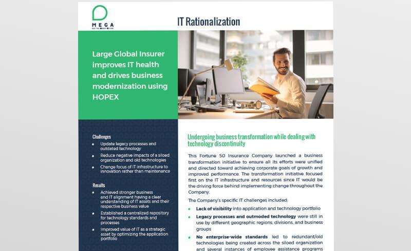Large Global Insurer improves IT health and drives business modernization using HOPEX
