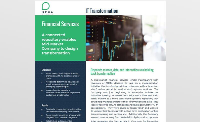 A connected repository enables Mid-Market Company to design transformation