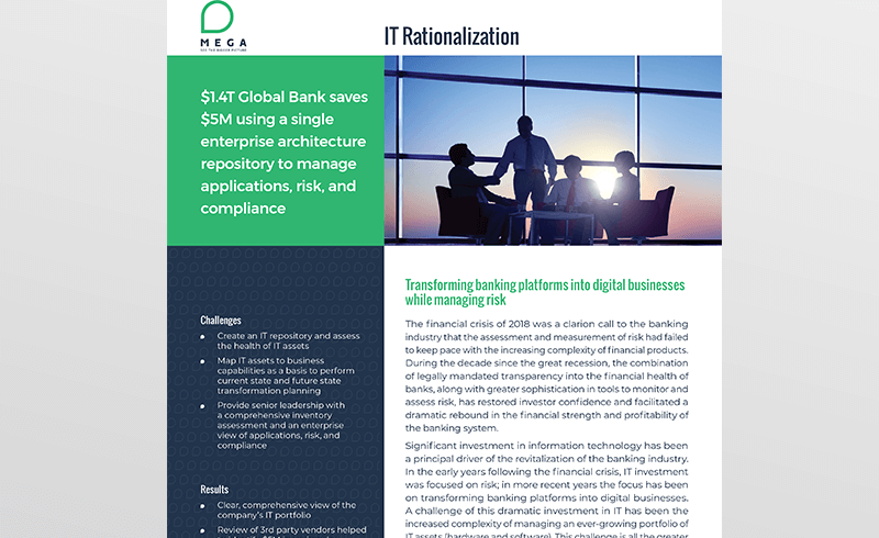 Global Bank uses a single enterprise architecture repository to manage applications, risk, and compliance