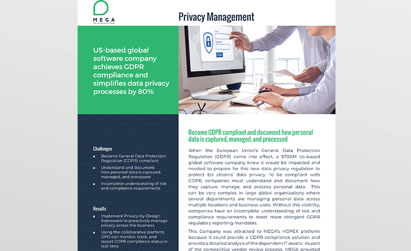 US-based global software company achieves GDPR compliance and simplifies data privacy processes by 80%