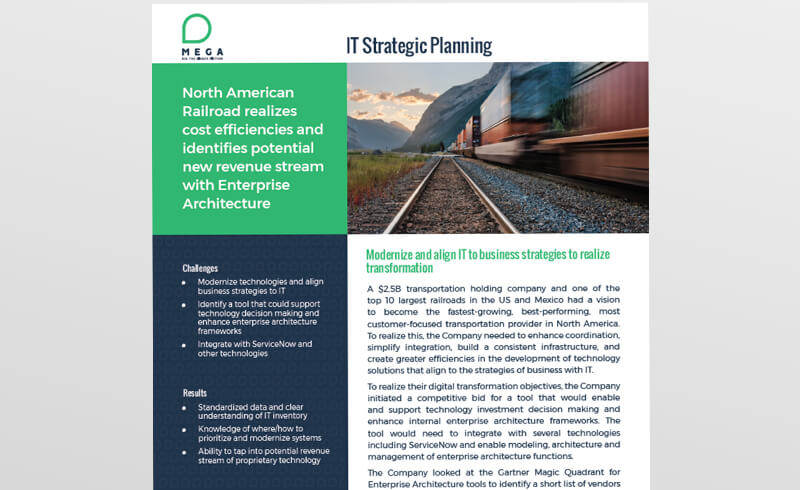North American Railroad realizes cost savings and identifies new revenue stream with Enterprise Architecture