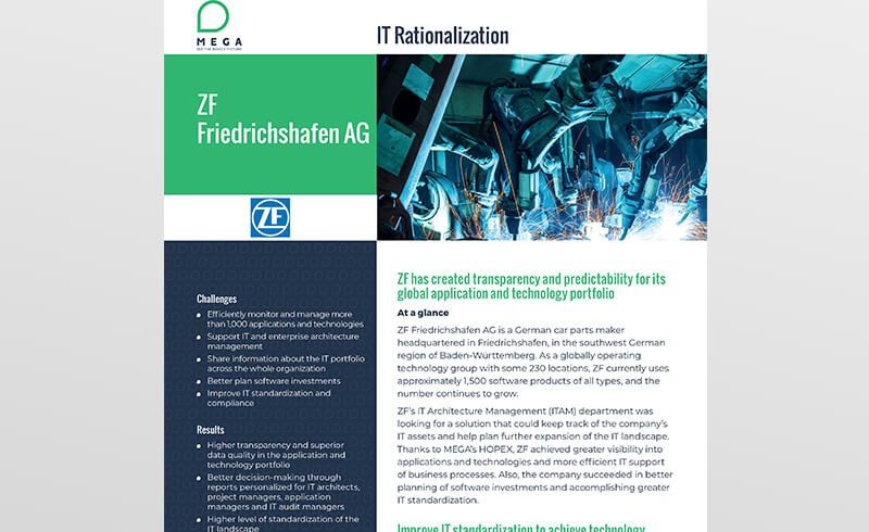 ZF Friedrichshafen has created transparency and predictability for its global application and technology portfolio
